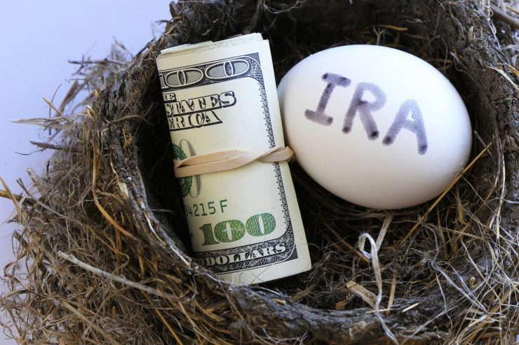 a roll of $100 bills and an egg that says IRA in a nest